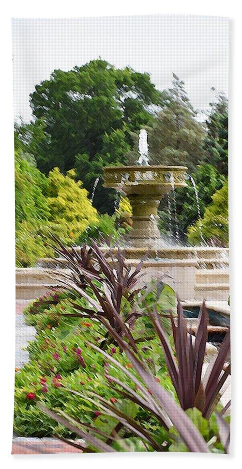 Sarah Lee Baker Perennial Garden Beach Towel featuring the painting Sarah Lee Baker Perennial Garden 4 by Jeelan Clark