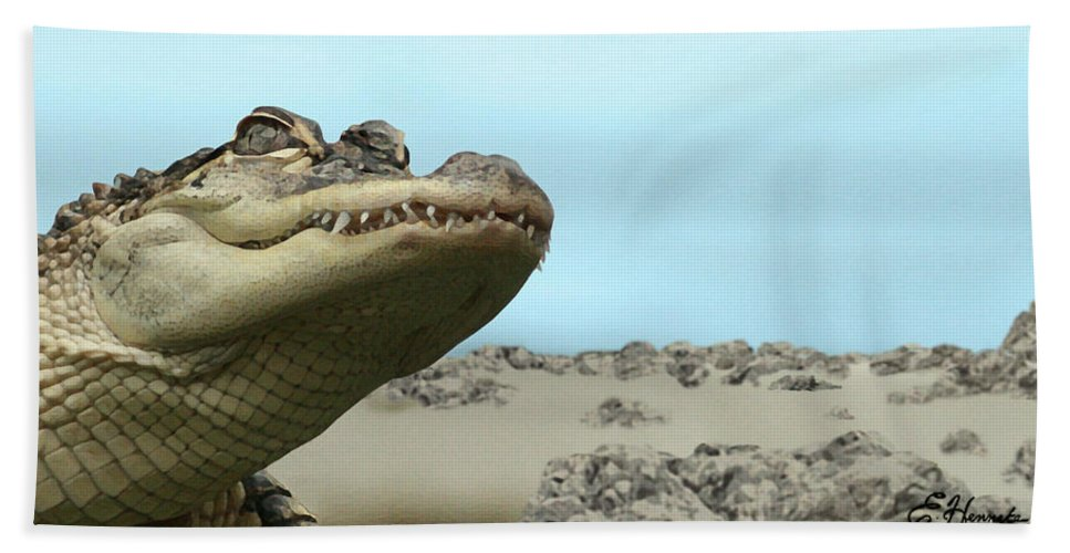 See You Later Beach Towel featuring the painting See You Later Alligator by Ellen Henneke