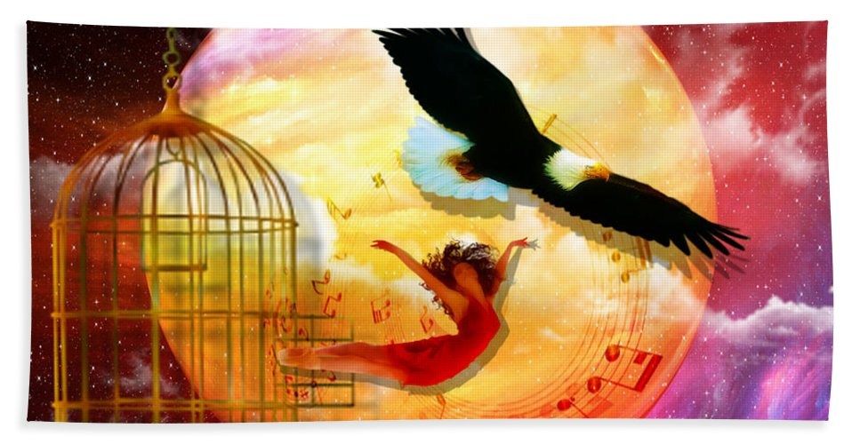 Eagle Cadge Freedom Isaiah 40:31 Beach Towel featuring the digital art Set Free by Dolores Develde