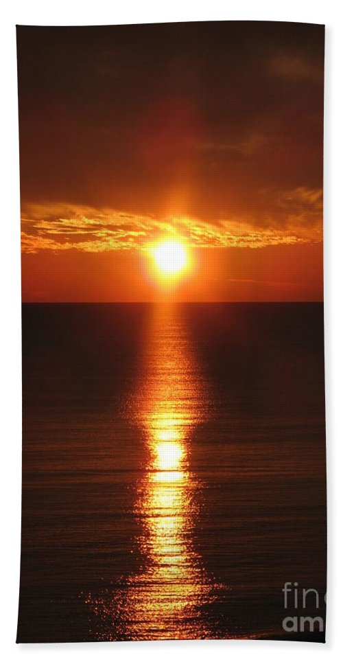 Sunset Beach Towel featuring the photograph Sky On Fire by Christiane Schulze Art And Photography