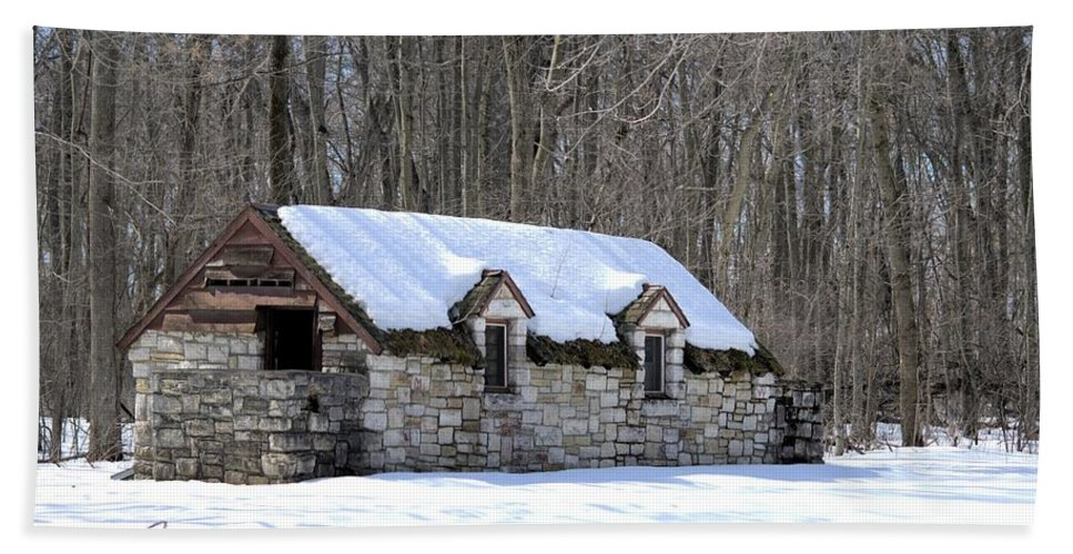 Snow Beach Towel featuring the photograph Snow On The Roof by Bonfire Photography