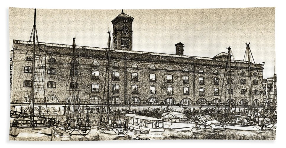 St Katherines Dock Beach Towel featuring the digital art St Katherine's Dock London Sketch by David Pyatt