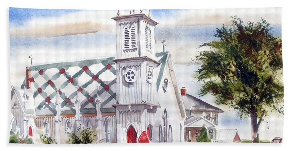 St Pauls Episcopal Church Beach Towel featuring the painting St Pauls Episcopal Church by Kip DeVore