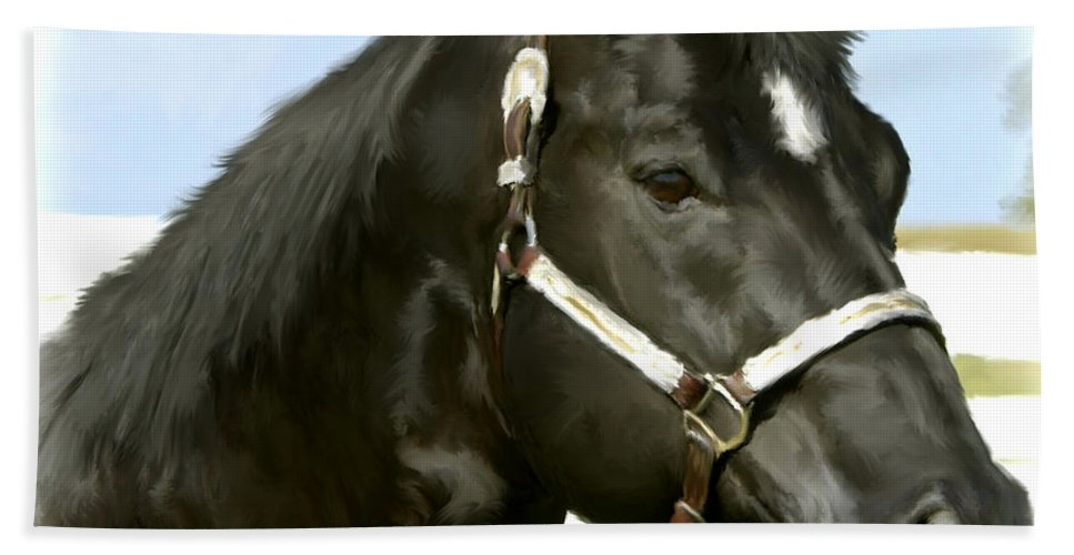 Brown Beach Towel featuring the painting Stallion by Paul Tagliamonte
