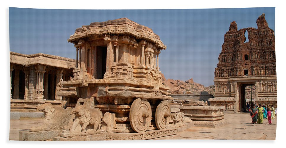 Ancient Buildings Beach Towel featuring the digital art Stone Chariot At Vittala Temple by Carol Ailles