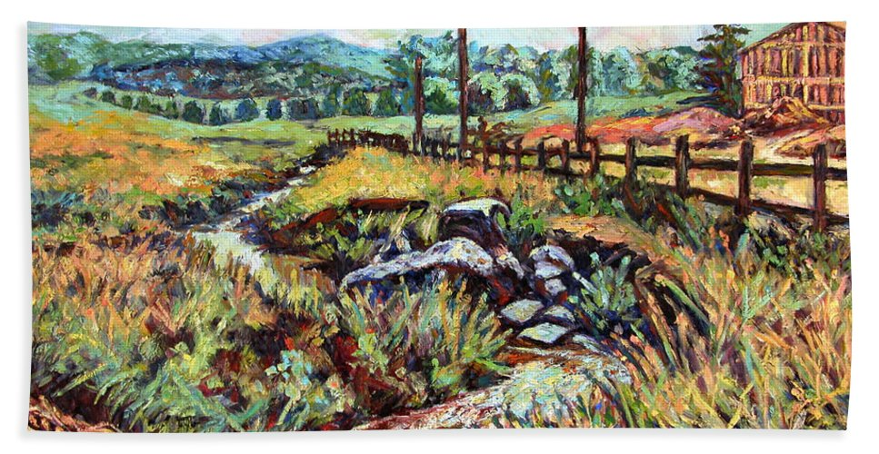 Landscape Paintings Beach Towel featuring the painting Stroubles Creek by Kendall Kessler
