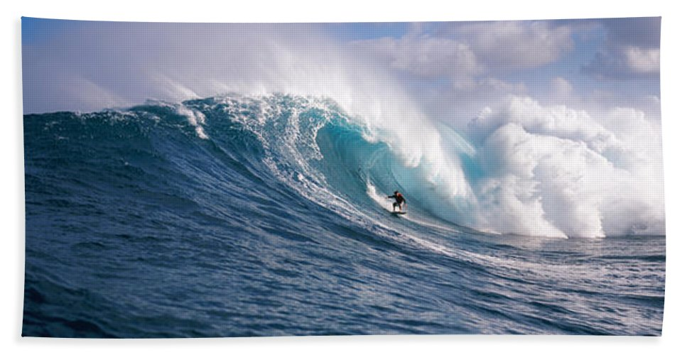 Photography Beach Towel featuring the photograph Surfer In The Sea, Maui, Hawaii, Usa by Panoramic Images