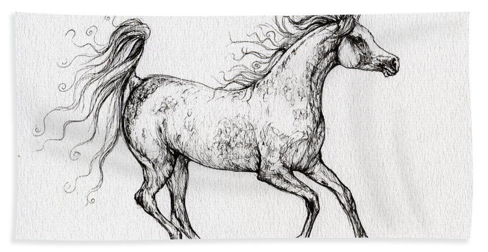 Horse Beach Towel featuring the drawing The Arabian Mare Running by Angel Ciesniarska