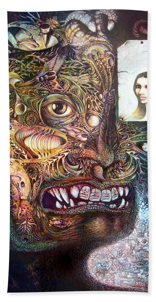 Mythology Beach Towel featuring the painting The Beast Of Babylon by Otto Rapp
