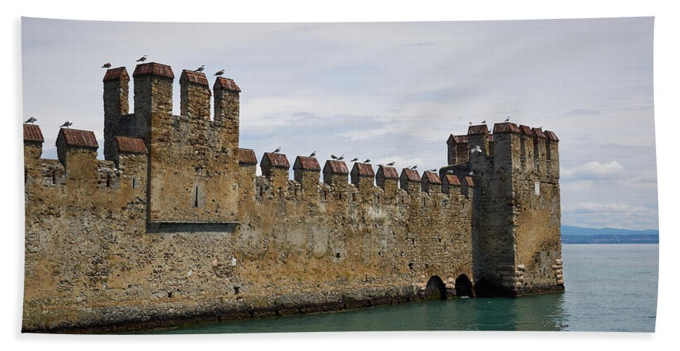 Francacorta Beach Towel featuring the photograph The Castle Of Sirmione. Lago Di Garda by Jouko Lehto