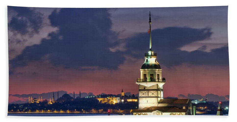 Beach Towel featuring the photograph The Maiden's Tower by Ayhan Altun