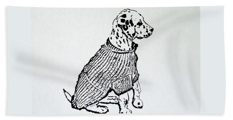 Dog Beach Towel featuring the drawing The Sweater Girl by Jacki McGovern