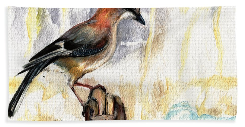 Jay Beach Towel featuring the painting The Winter Tales by Angel Ciesniarska