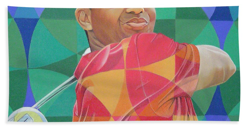 Tiger Woods Beach Towel featuring the drawing Tiger Woods by Joshua Morton
