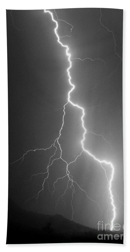 Lightning Beach Towel featuring the photograph Touch And Go by J L Woody Wooden