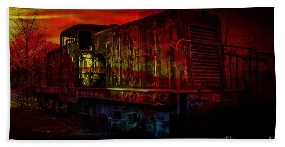 Train Digital Art Beach Towel featuring the mixed media Train by Marvin Blaine