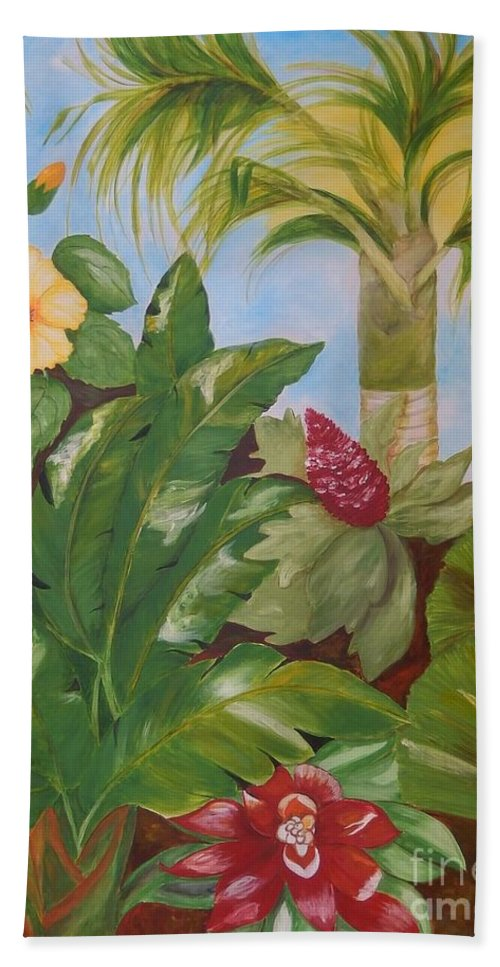 Tropical Beach Towel featuring the painting Tropical Garden by Graciela Castro