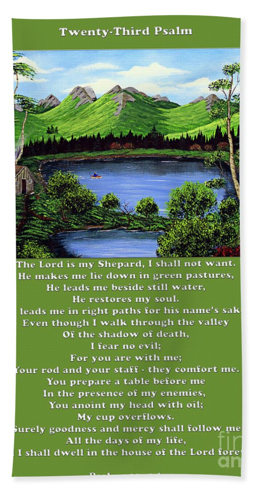 Twenty Third Psalm Beach Towel featuring the painting Twin Ponds And 23 Psalm On Green by Barbara Griffin