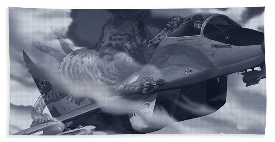 Canvas Prints Beach Towel featuring the digital art Two-tailed Tomcat by Joseph Juvenal