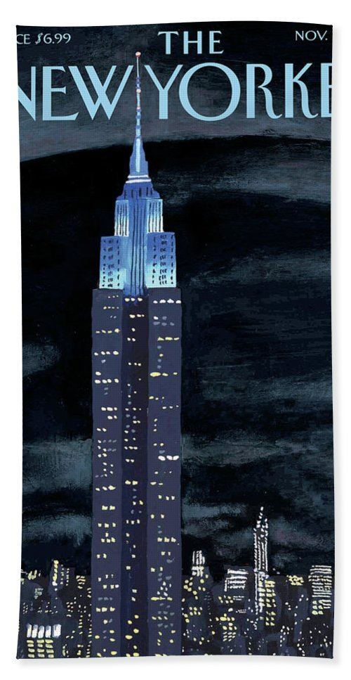 New York City Beach Sheet featuring the painting New Yorker November 19th, 2012 by Mark Ulriksen