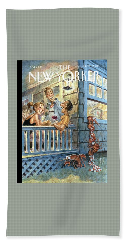 By Peter De Seve Beach Sheet featuring the painting New Yorker July 28th, 2008 by Peter de Seve
