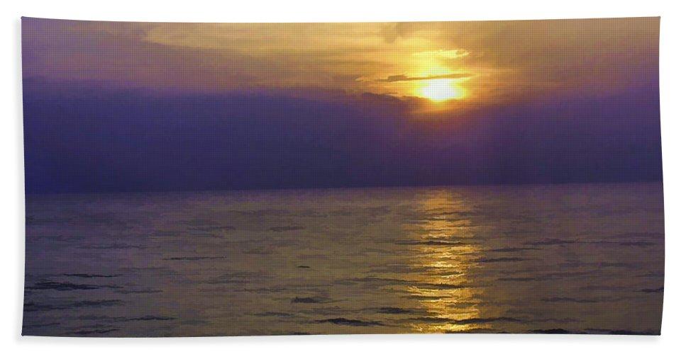 Arabian Sea Beach Towel featuring the digital art View Of Sunset Through Clouds by Ashish Agarwal