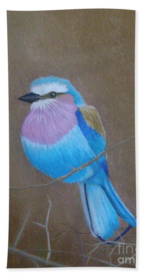 African Bird Beach Towel featuring the pastel Violet-breasted Roller Bird by Lynn Quinn