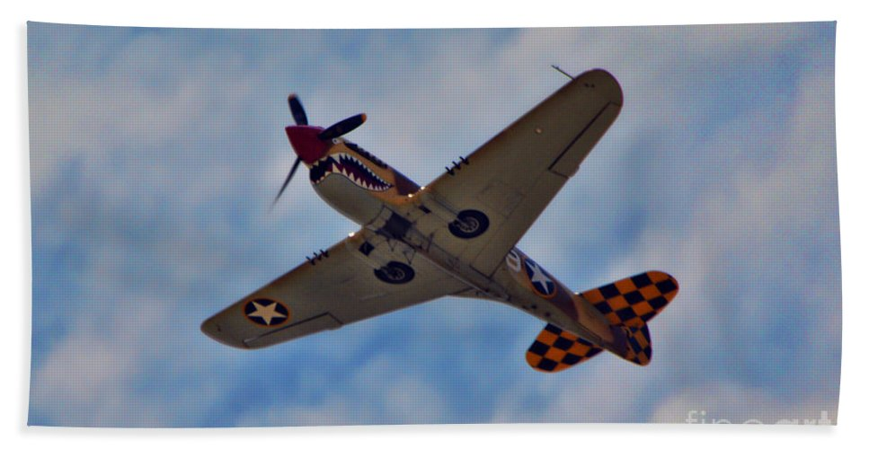 Curtis P-40 Warhawk Beach Towel featuring the photograph Warhawk by Tommy Anderson