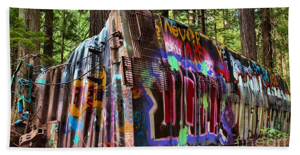 Train Wreck Beach Towel featuring the photograph Whistler Train Wreck Box Car by Adam Jewell