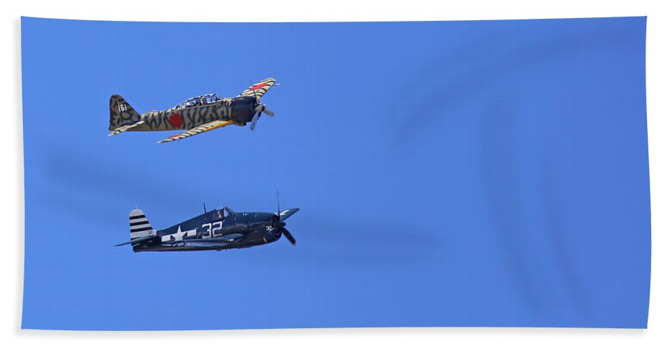 Grumman Beach Towel featuring the photograph Wwii Planes by Paul Fell