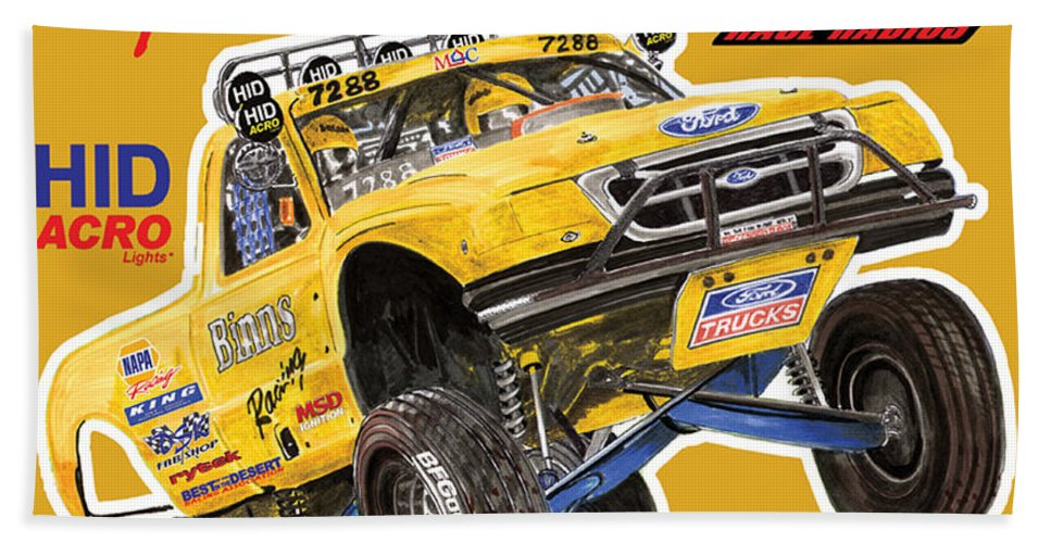 Event Posters Beach Towel featuring the painting 2008 Ford F-150 Racing Poster by Jack Pumphrey