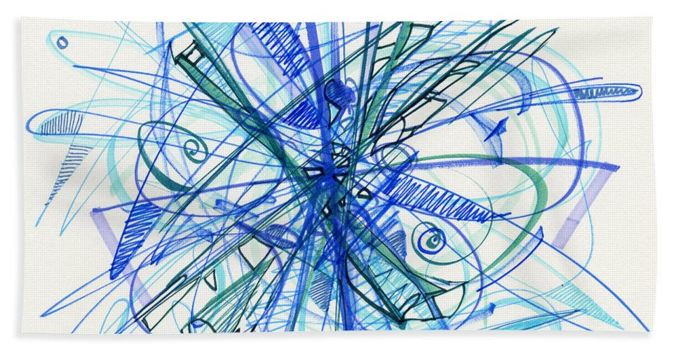 Abstract Drawing Beach Towel featuring the drawing 2010 Abstract Drawing 21 by Lynne Taetzsch