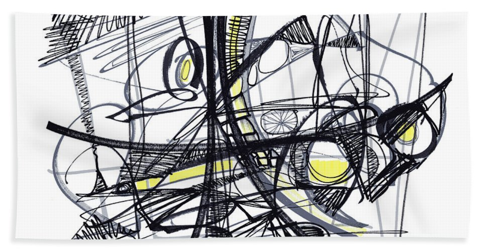 Abstract Drawing Beach Towel featuring the drawing 2010 Abstract Drawing 27 by Lynne Taetzsch