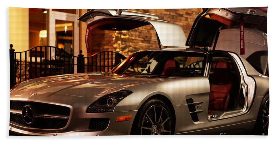 2011 Beach Towel Featuring The Photograph 2011 Mercedes Benz Sls Amg  Gullwing By Ronald Chacon