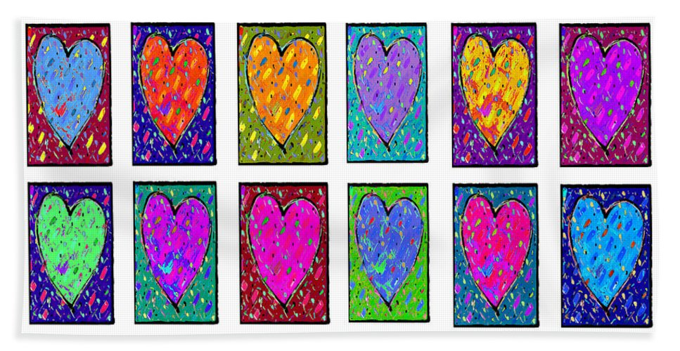 Hearts Beach Towel featuring the painting 24 Hearts In A Box by Dale Moses