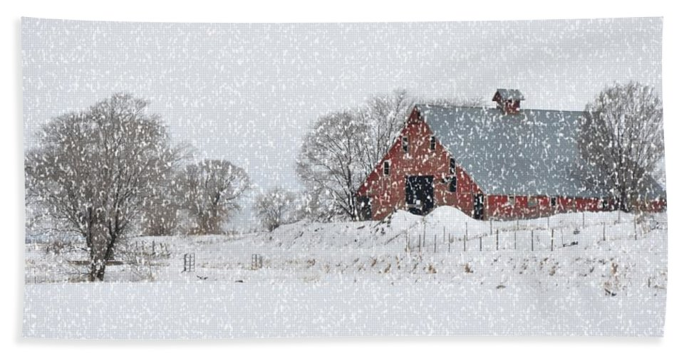 Barn Beach Towel featuring the photograph Blizzard by Image Takers Photography LLC - Carol Haddon and Laura Morgan