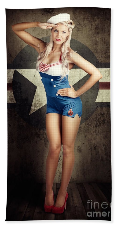 50s Beach Towel featuring the photograph American Fashion Model In Military Pin-up Style by Jorgo Photography - Wall Art Gallery