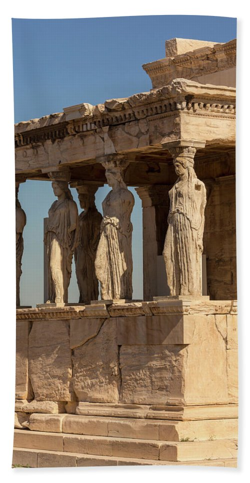 Photography Beach Towel featuring the photograph Athens, Attica, Greece. Porch by Panoramic Images