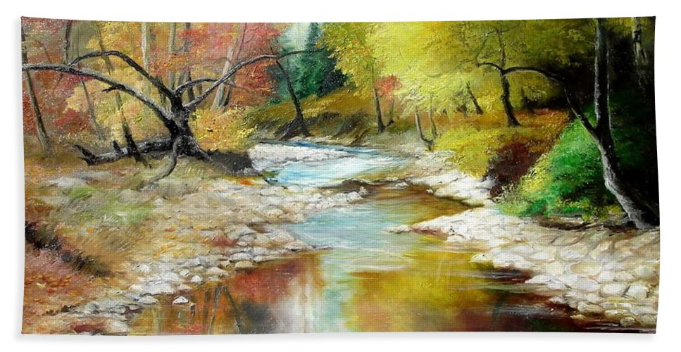 Tree Beach Towel featuring the painting Autumn by Sorin Apostolescu