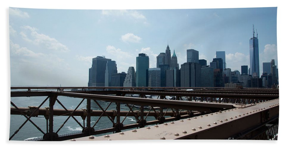 Brooklyn Beach Towel featuring the digital art Brooklyn Bridge by Carol Ailles