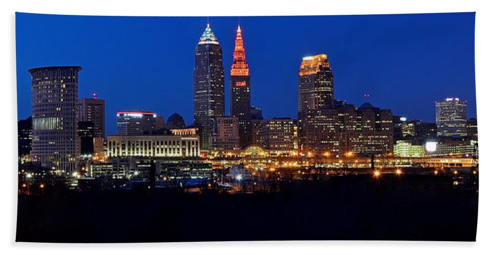 Panorama Beach Towel featuring the photograph Cleveland Panorama by Frozen in Time Fine Art Photography