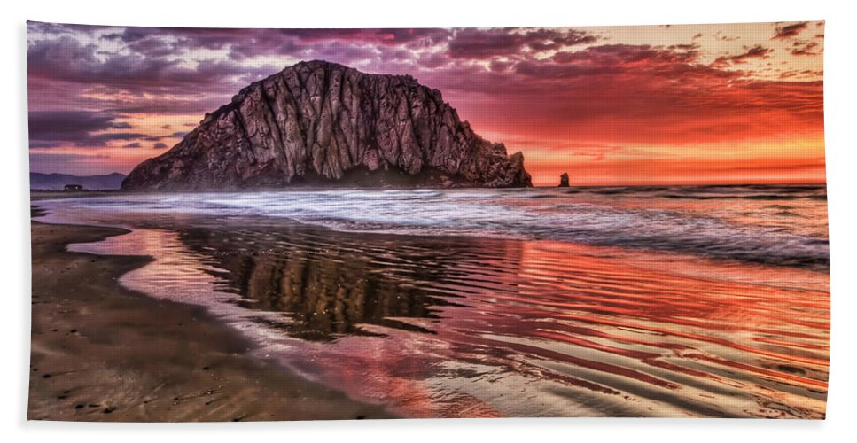 Sunset Beach Towel featuring the photograph Crimson Sunset by Beth Sargent