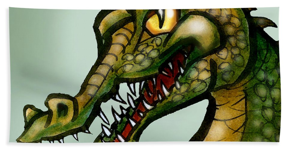 Crocodile Beach Towel featuring the painting Crocodile by Kevin Middleton