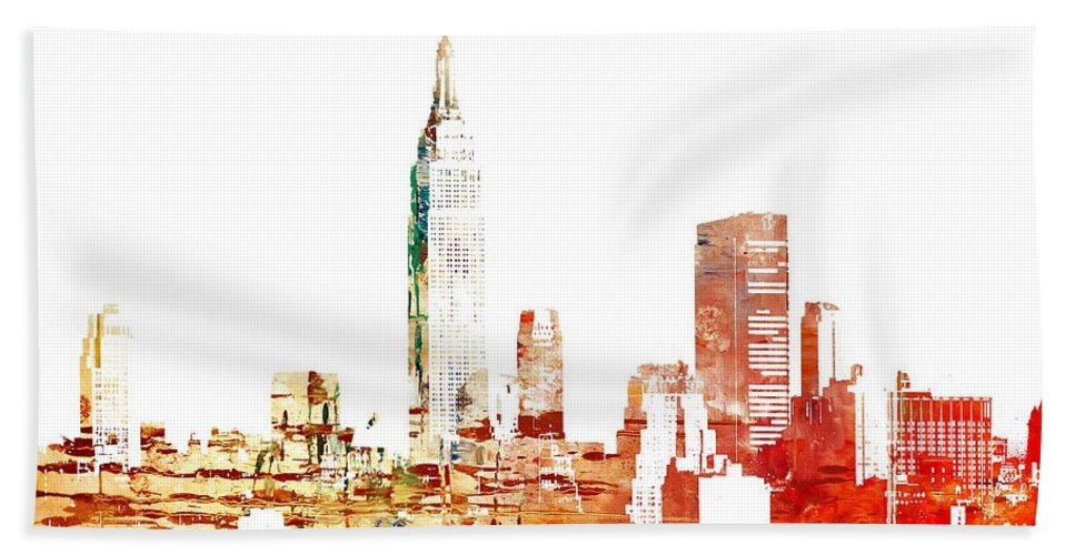 New York Beach Towel featuring the painting Empire State Building by Doc Braham
