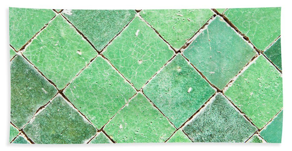 Abstract Beach Towel featuring the photograph Green Tiles by Tom Gowanlock