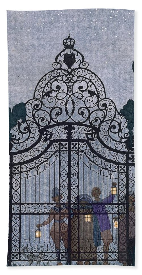 Gates Beach Towel featuring the painting Illustration For 'fetes Galantes' by Georges Barbier