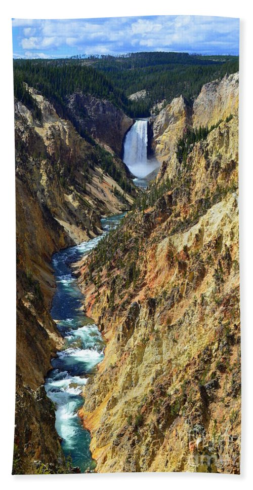 Lower Yellowstone Falls Beach Towel featuring the photograph Lower Yellowstone Falls by Catherine Sherman
