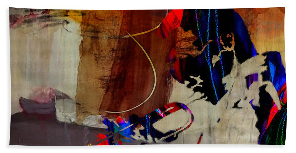 Miles Davis Paintings Beach Towel featuring the mixed media Miles Davis by Marvin Blaine