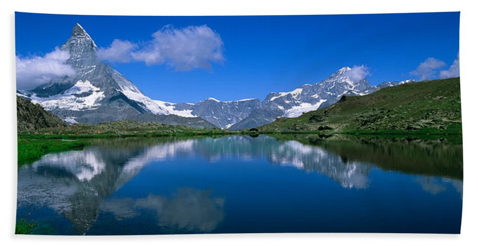 Photography Beach Towel featuring the photograph Reflection Of Mountains In Water by Panoramic Images