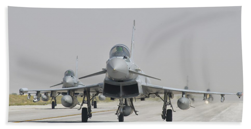 Horizontal Beach Towel featuring the photograph Royal Air Force Ef-2000 Typhoon by Giovanni Colla